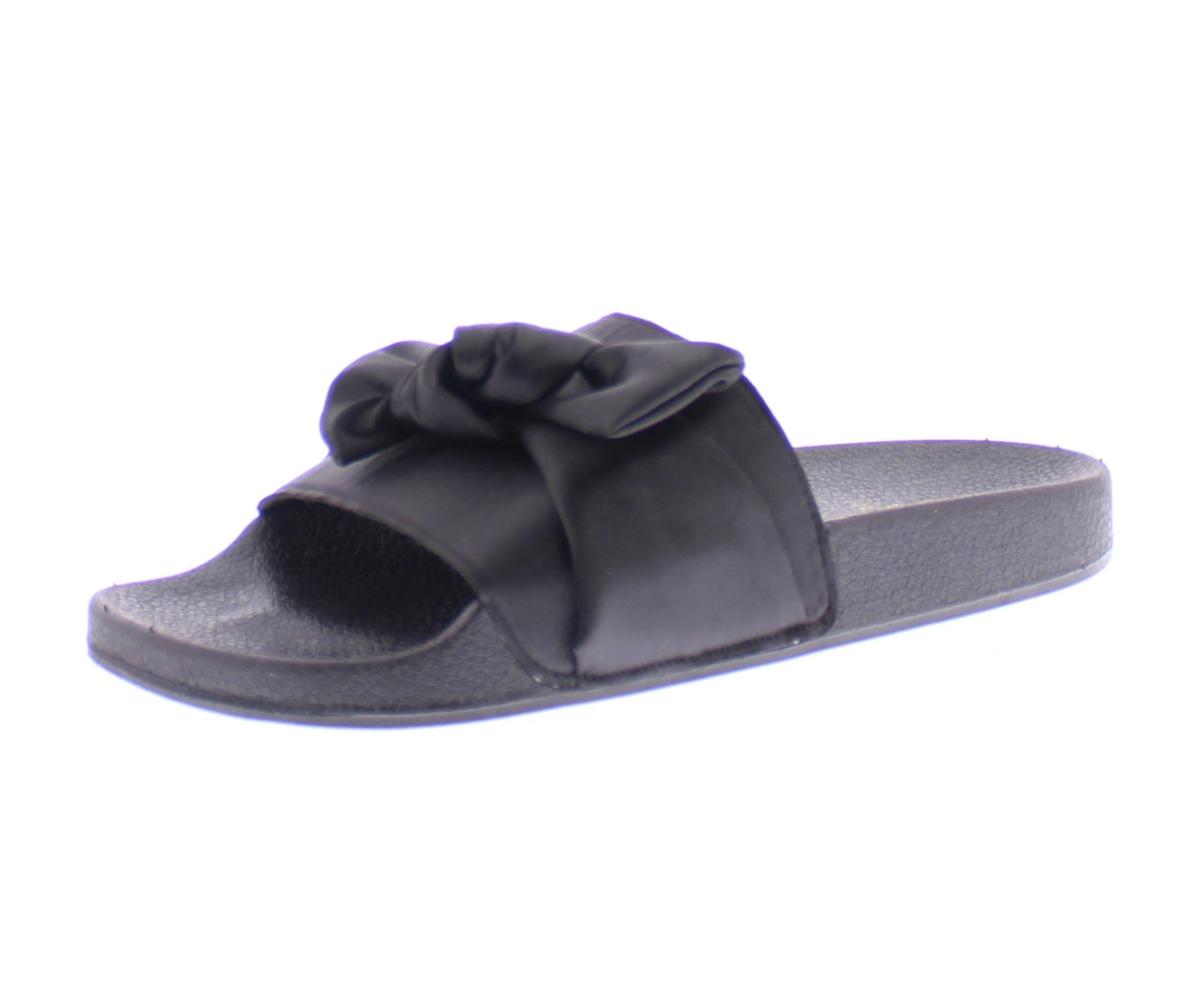 Gold Toe Women's Satina Black Satin Bow Top Knot Open Toe Flat Pool Slides Sandals, Casual Slip On Shoes 7