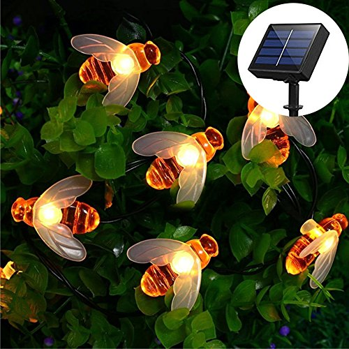 SKYFIRE Solar Powered Honey Bee String Lights?30 LED Solar String Lights Outdoor Honeybee Fairy String Lights for Garden Patio Flower Trees Lawn Landscape(Warm White)