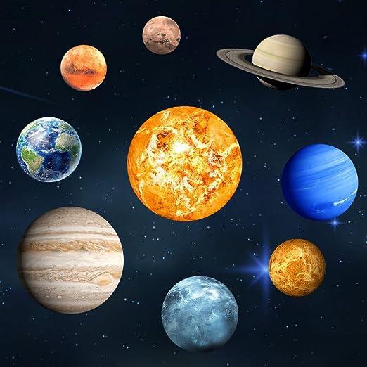 EXTSUD Pegatinas de Pared 9 Planetas Luminosos Pegatinas de Pared Fluorescentes Decoración del Hogar/Dormitorio/Sala Ideal Regalos de ...