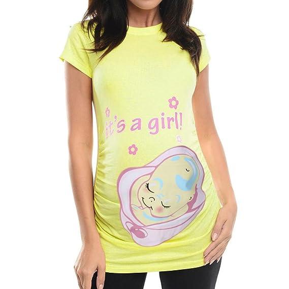 OHQ Camisetas Mujer Camiseta Estampada De Manga Larga con Estampado De Maternidad Amarillo Negro Blanco Embarazadas