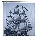 THOMAS PAUL Galleon Shower Curtain, Ink