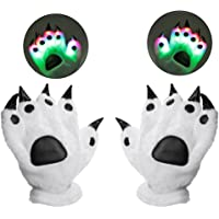 Luwint Led Finger Lighting Gloves - Youth Adult Color Changing Flashing Dinosaur Bear Wolf Paw for Party Cosplay Costume…