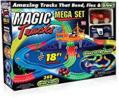 Magic Tracks Deluxe Mega Set | As Seen On TV Glow in The Dark Racetrack 18ft