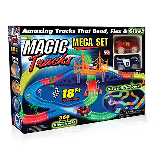Ontel Magic Tracks Mega Set with 2 LED Race Car and 18 ft. of Flexible, Bendable Glow in the Dark Racetrack, As Seen on TV ()