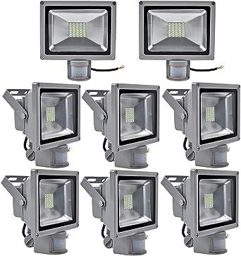 greenmigo 30 W SMD Foco LED con detector de movimiento (Foco fría Color Blanco Plata Gris