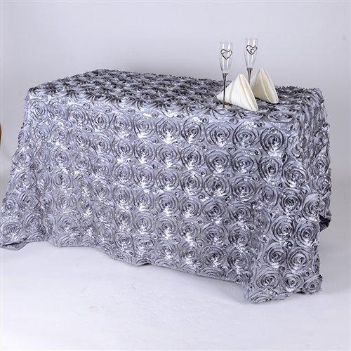 BBCrafts 90 Inch x 132 Inch Rosette Florals Satin Rectangular Tablecloths (Silver) ()