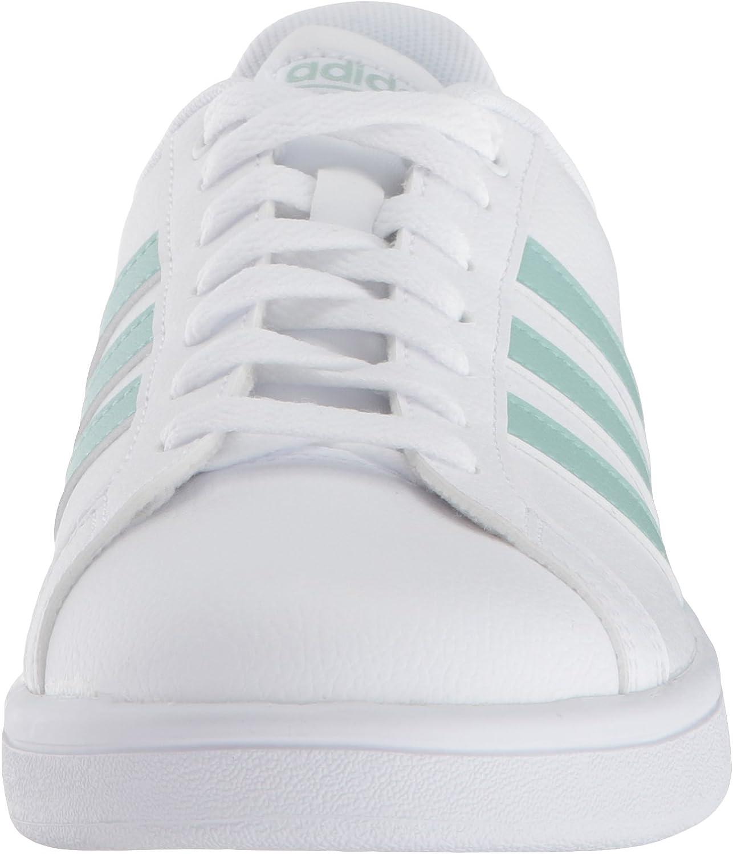 adidas Cloudfoam Advantage, Sneakers Basses Femme Blanc Vert Cendré Granit Clair