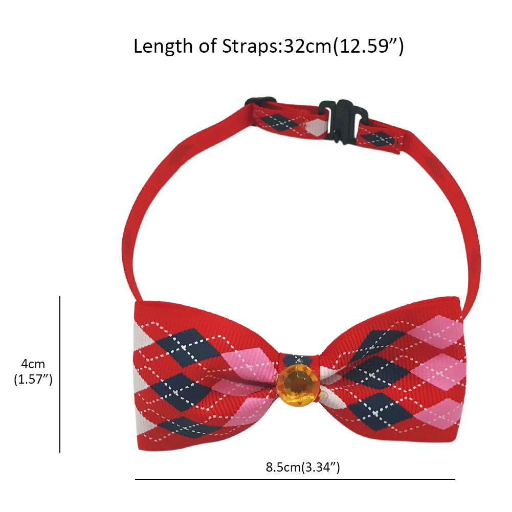SW Dog Cat Pet Adjustable Bow Tie Collar Puppy Accessories Party Decoration, Red