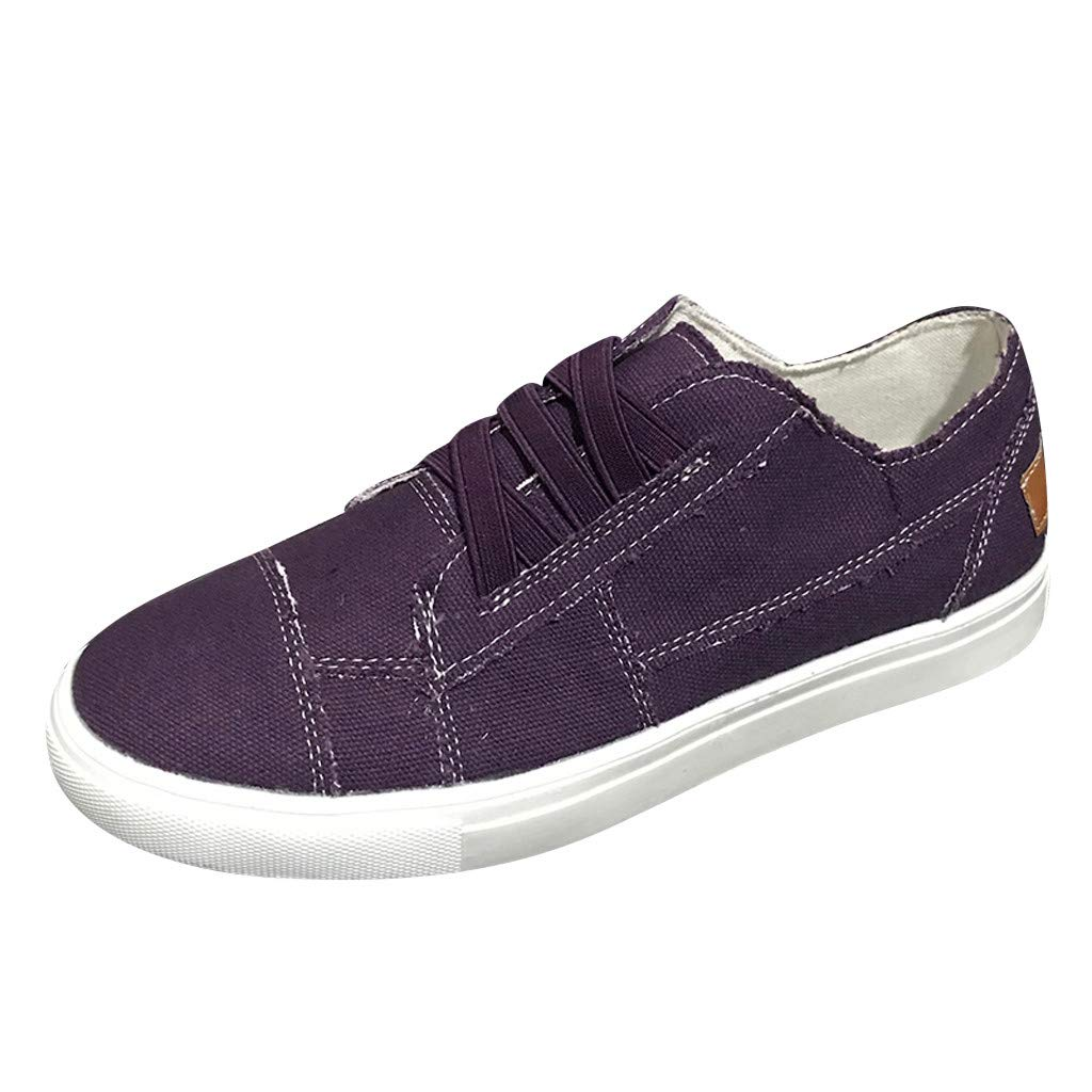 Women's Elastic Band Flat Canvas Shoes Comfy Retro Solid Color Casual Shoes Student Walk Running Sneakers Sport Shoes (Purple, 8 M US) by Swiusd Shoes