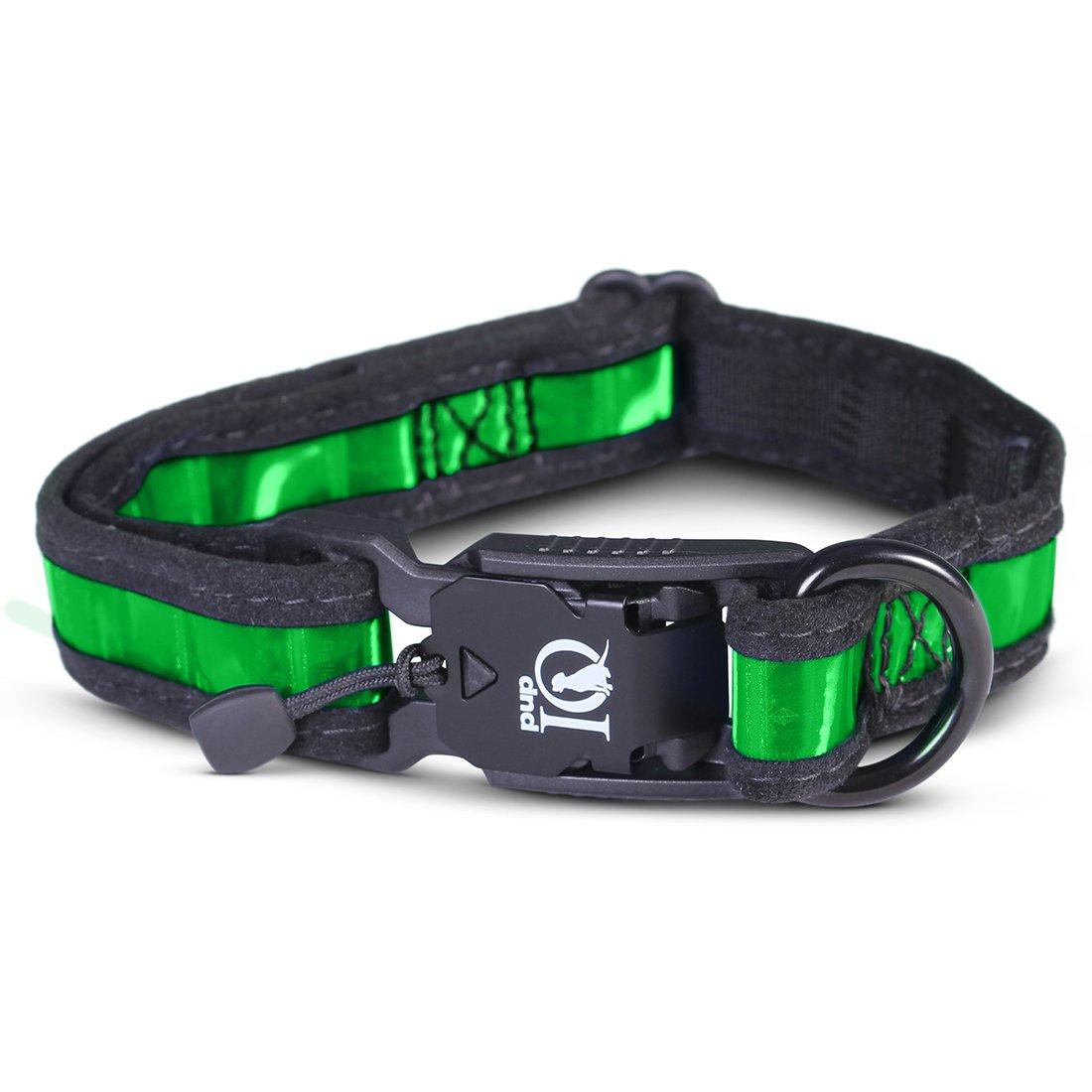 Green Medium Green Medium PUP IQ SmartPup Prisma Reflective Dog Collar, for Reflectivity and Durability, Green, Medium