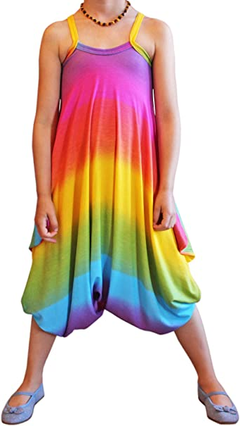 ZipZappa Rainbow Girl Cami Summer Cute Jumpsuits for Girls Kids Harem Strap Romper Jumpsuit One Piece Pants Trousers Clothes Playsuit Age 4-13 Years