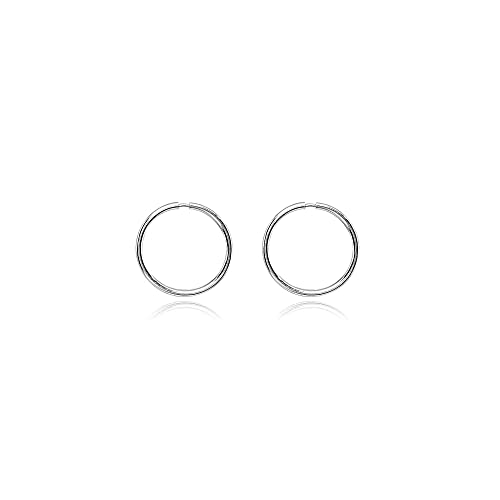 dc28b5730 Amazon.com: 14K White Gold Tiny Small Endless 10mm Round Thin Lightweight  Unisex Hoop Earrings: Jewelry