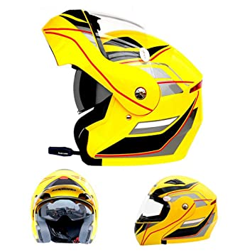 WEGCJU Casco De Moto Bluetooth con Microfono Casco Integral,Yellow-M