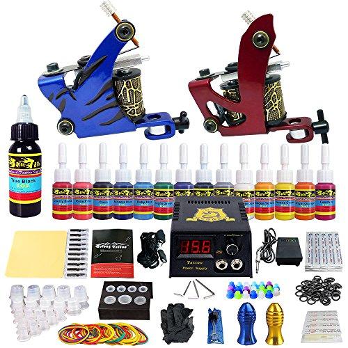 Solong Tattoo Complete Tattoo Kit 2 Pro Machine Guns 14 Inks Power Supply Foot Pedal Needles Grips Tips TK210 (Best Gun For A Beginner)