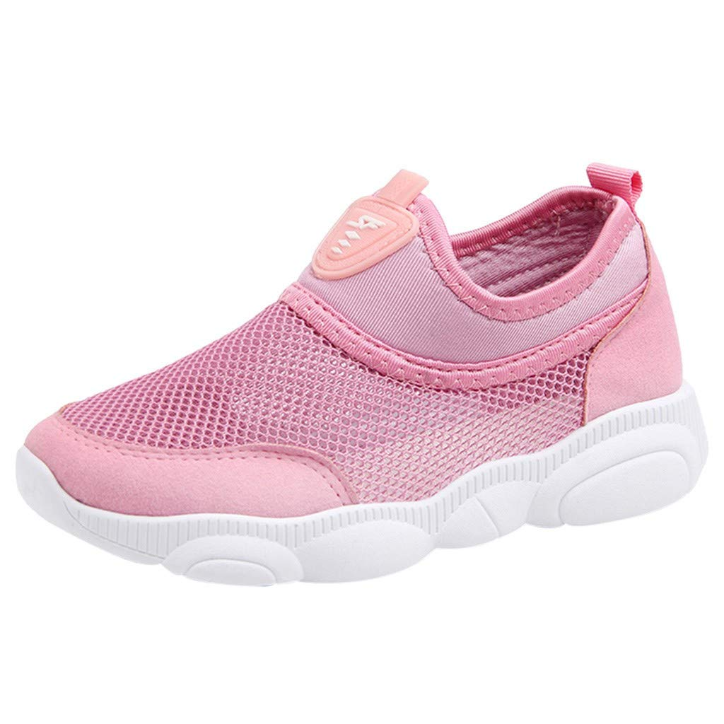 ZOMUSAR Children Kids Baby Boys Girls Mesh Candy Color Sport Run Sneakers Casual Shoes Pink