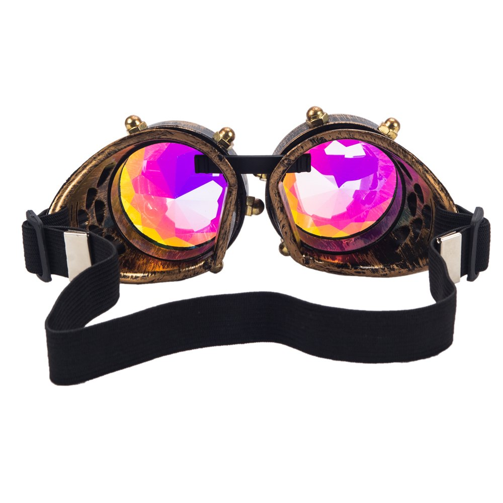 FLORATA Kaleidoscope Vintage Rustic Cyber Style Steampunk Goggles Welding Punk Glasses Multicolor Lens