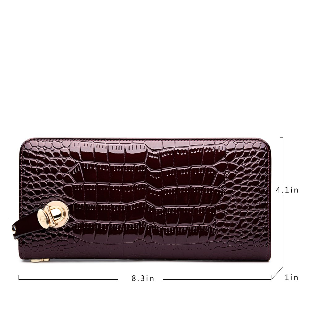 ZOOLER GLOBAL Women\'s Genuine Leather Clutch Wallets Wristlet Organizer Purse with Large Space Card Hold Zipper Pocket Red