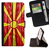 FJCases Republic of Macedonia Macedonian Wood Pattern Flag Slim Wallet Card Holder Flip Leather Case Cover for Microsoft Lumia 540 Dual Sim
