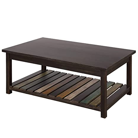 P Purlove Rustic Coffee Table Solid Wood Mdf Rectangle Coffee Table For Living Room With Color Open Shelf Easy Assembly