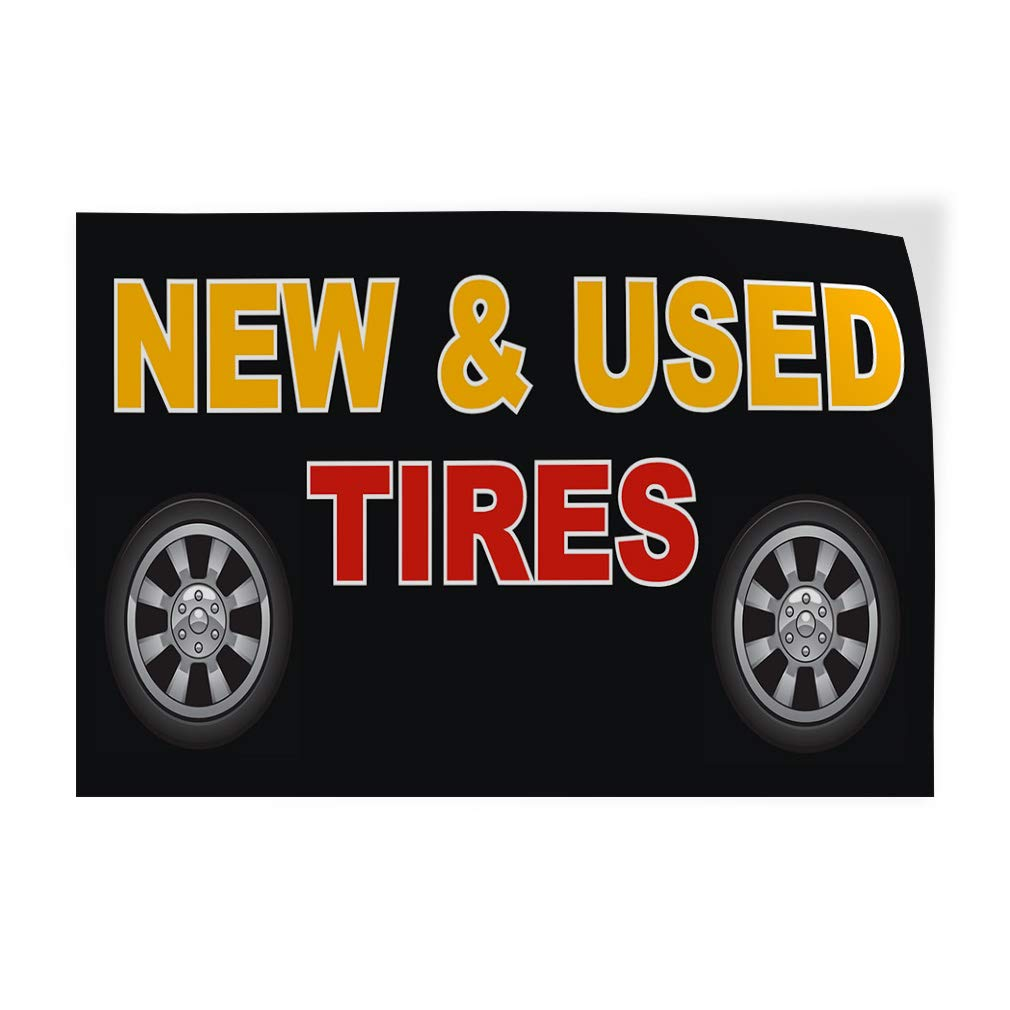 14inx10in Decal Sticker Multiple Sizes Tires New and Used Black Red2 Automotive New Tires Outdoor Store Sign Black Set of 10