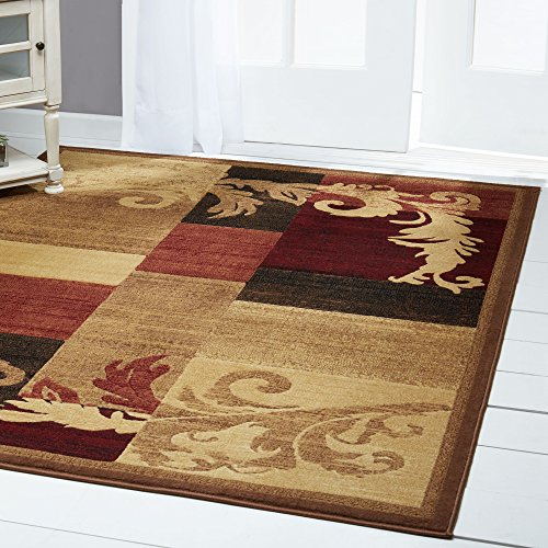Home Dynamix Catalina Pierre | Formal Dining Room Rug | Geometric Paterns with Floral Accents | Brown and Red 5'3