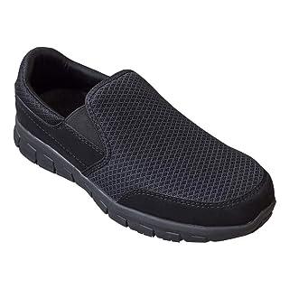 """EVER BOOTS """"Traveler Men's Slip Resistant Lightweight Flexible Work Shoe Slip On (10 D(M), Black)"""