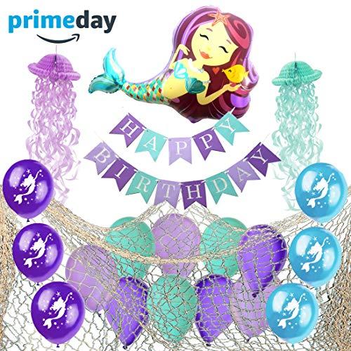 Mermaid Party Supplies - Decorative Fish Net, Fully Assembled Happy Birthday Banner, Jellyfish Honeycomb, Latex Mermaid Balloons and Giant Mermaid Foil Balloon - Mermaid Birthday Party Supplies Decorations