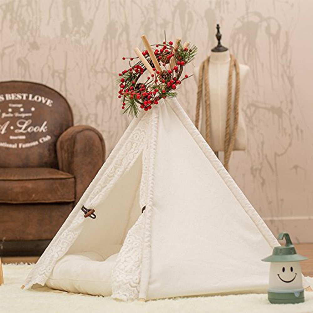 Dog Tent Pet Teepee Dog Cat Play House Portable Washable Pet Bed for Dog Cat Lace Style (Without Cushion) by DEWEL (Image #3)