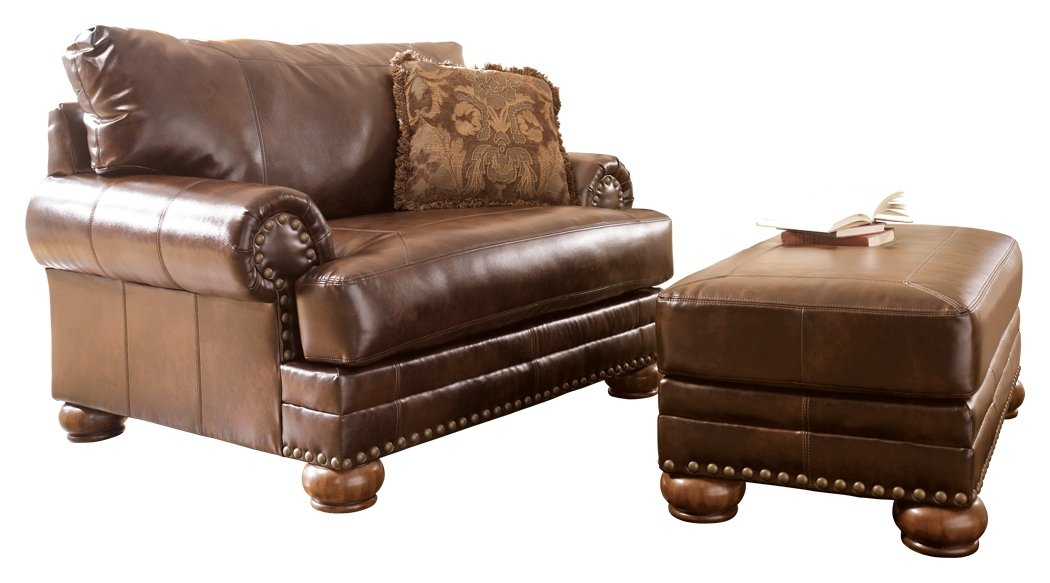 Amazon.com: Ashley Furniture Signature Design   Chaling Chair And A Half  With 1 Accent Pillow   Traditional And Weatherworn Style   Antique Brown:  Kitchen U0026 ...