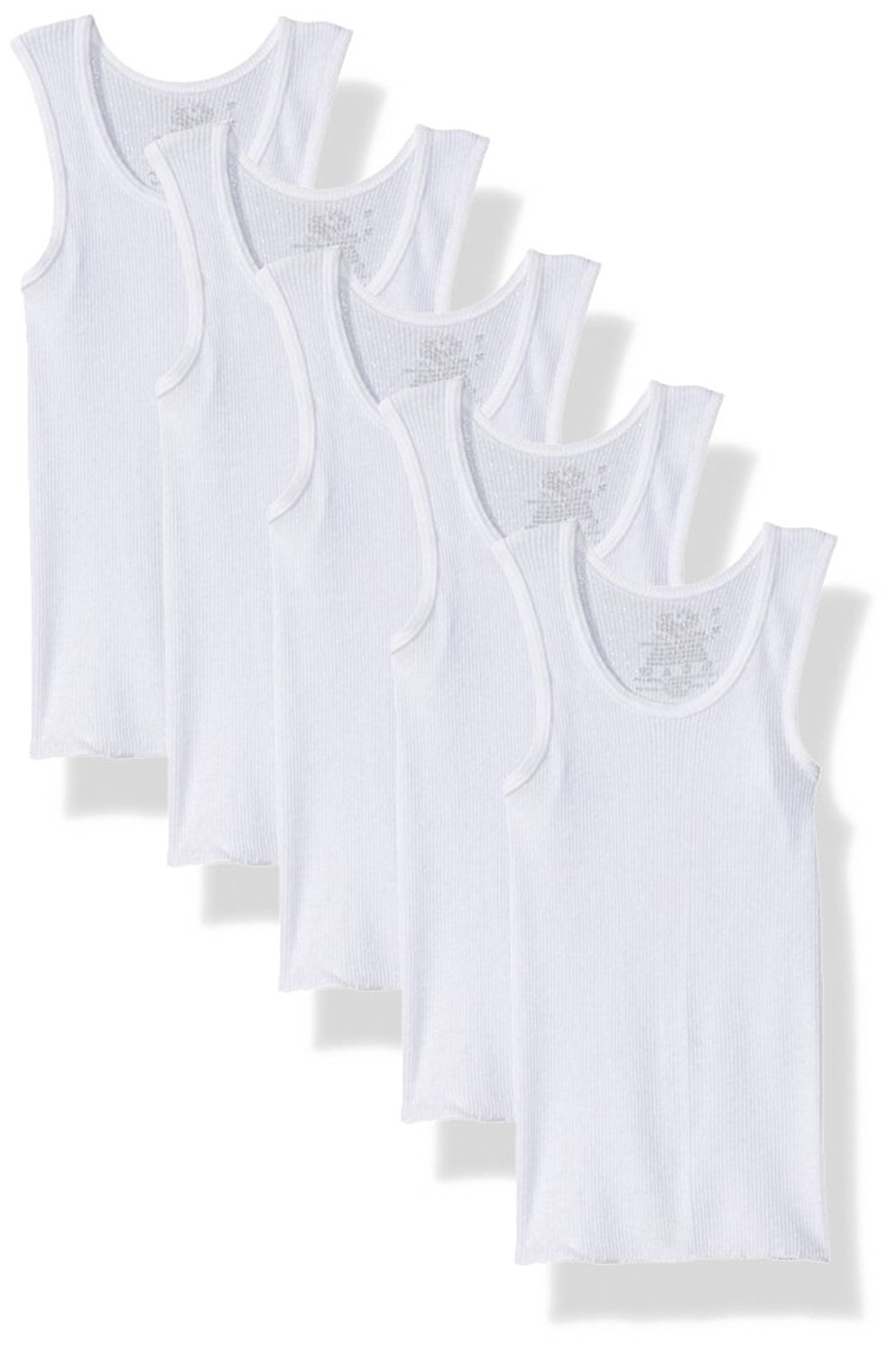 Fruit Of The Loom Little Boys' A-Shirt (Pack Of 5) (White, Small(44-68 lbs/45''-52'' Chest))