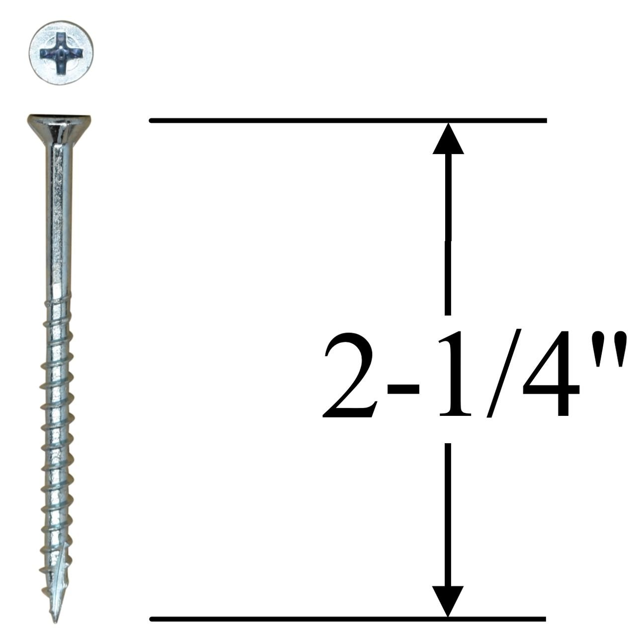 #8 x 2-1/4'' Flat Head Wood Screws - #2 Philips Drive - Countersinking Nibs - Auger Point - Deep Thread Design For Cabinets & All Interior Work - Zinc Plated - 2 Lb. Box (+- 272 pieces) by Desunia (Image #2)