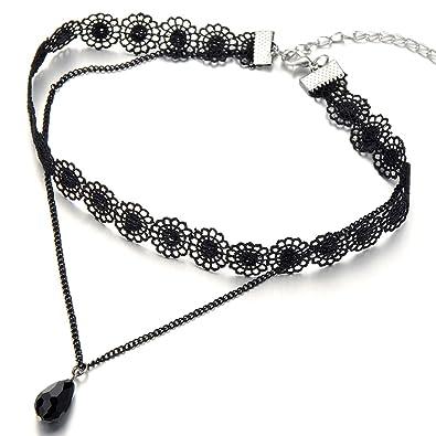 4f263a675590 COOLSTEELANDBEYOND Negro Encaje Cadena Tatuaje Collar de Gargantilla Choker  Collar de Mujer