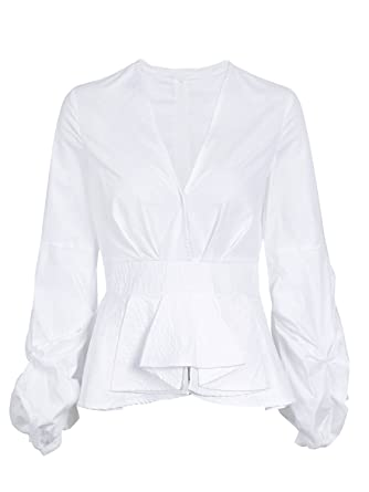 7f3c9fd8 Simplee Women Deep V Neck Long Sleeve Blouse Slim Fit Striped Shirt Peplum  Tops White
