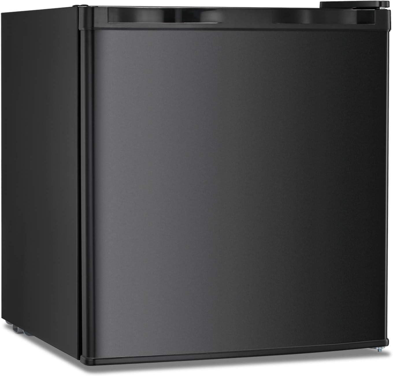 Upright Freezer Lock 1.1 Cubic Feet with Reversible Door Removable Shelves Mini Freezer Adjustable Thermostat Refrigerant for Home Office Black(Black-1.1cu.ft)