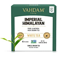 VAHDAM, Imperial Himalayan White Tea 15 Tea Bags, Long Leaf Pyramid White Tea Bags Handpicked Harvest From High…