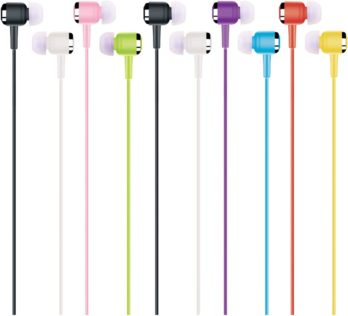 100 Pack Earbud Headphones in Bulk (G02), Multi Colors Corded Earphones Wholesale Accessory for Classroom iPhone Cell Phone Laptop Computer Business Office School Library Lab