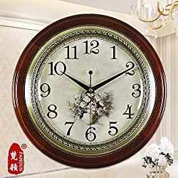 European-Style Living Room Large Pastoral Quiet Wall Clocks Antique Clock In The Modern Minimalist Creative Clock,20 Inch,15014 Café