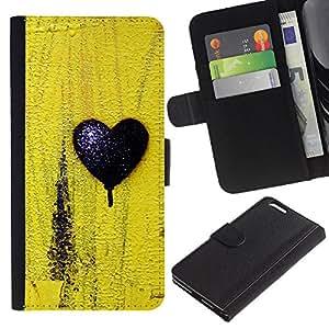 KingStore / Leather Etui en cuir / Apple Iphone 6 PLUS 5.5 / Negro Amor Amarillo Textura minimalista