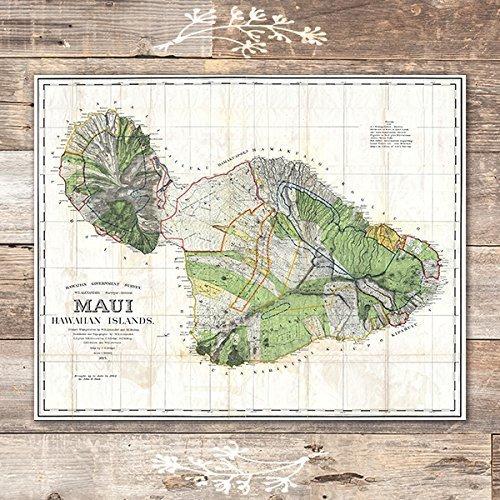 8x10s Set of 3 - Unframed Vintage Hawaii Survey Maps Art Prints