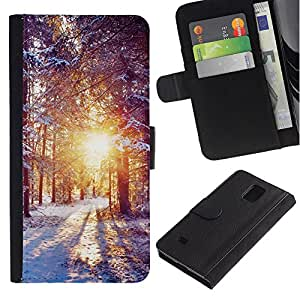 KingStore / Leather Etui en cuir / Samsung Galaxy Note 4 IV / Invierno Amanecer