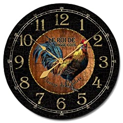 Black & Wood Rooster Wall Clock, Available in 8 sizes, Most Sizes Ship 2 - 3 days, Whisper Quiet.