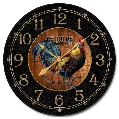 Black & Wood Rooster Wall Clock, Available in 8 sizes, Whisper Quiet.