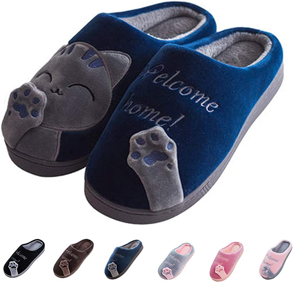 Women's & Men's Comfort Memory Foam Slippers Breathable Fuzzy Slip on Clog House Shoes w/Indoor Outdoor Anti-Skid Sole