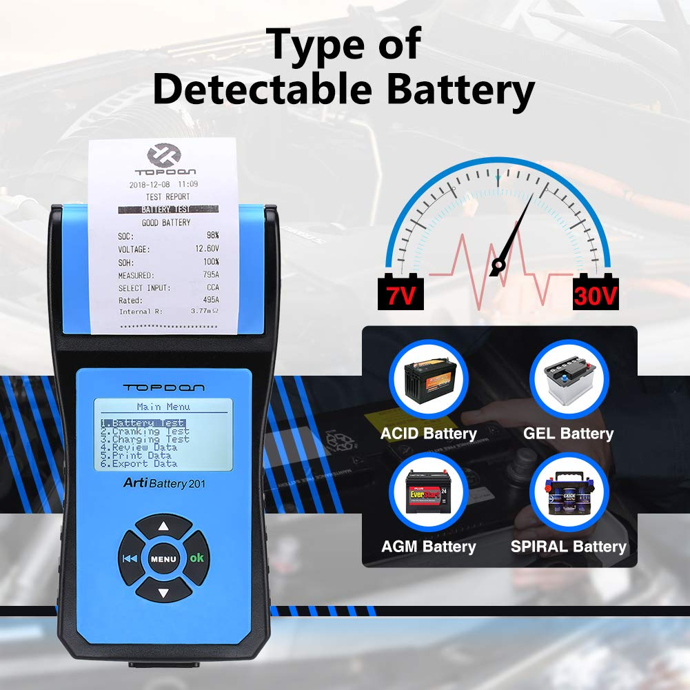 Battery Tester TOPDON AB201 Battery Analyzer 12V/24V 100-2000 CCA with Cranking/Charging/Battery Tests, Data Printing/Export/Review Functions for DIYers and Garages Battery Load Tester –Black and Blue by TT TOPDON (Image #4)