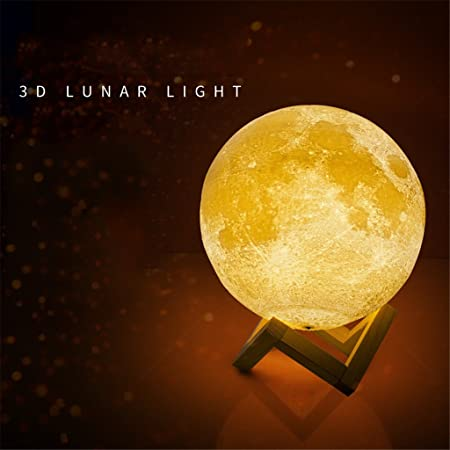 WQRTT Lámpara de Luna Impresión 3D Luz de Noche Lámpara de Noche ...