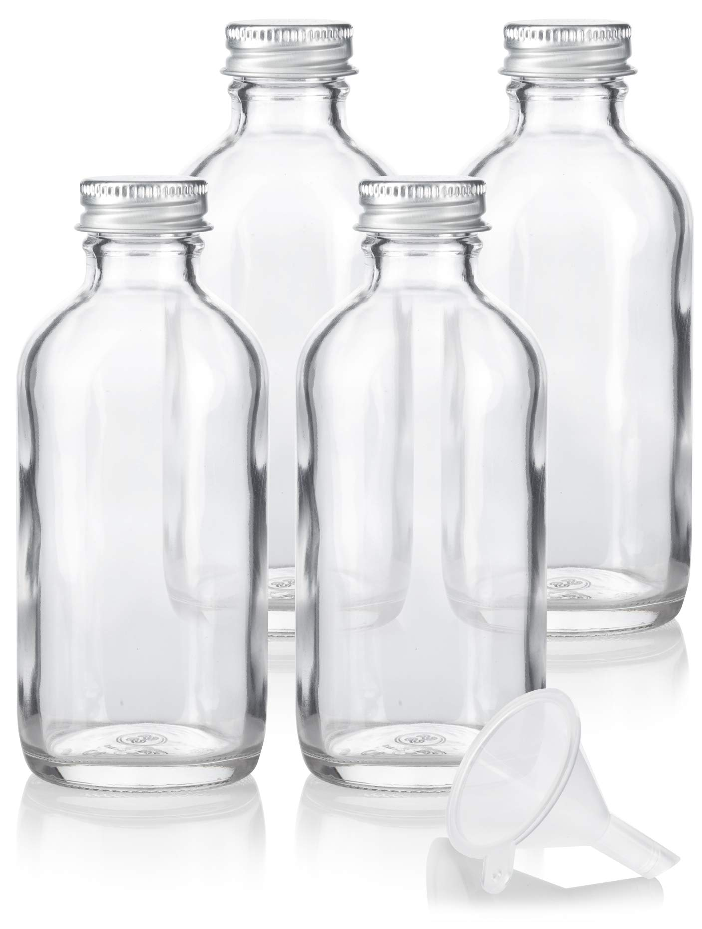 4 oz Clear Glass Boston Round Bottles with Silver Metal Screw On Caps (4 Pack) + Funnel by JUVITUS