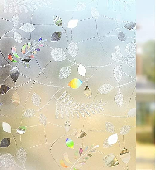 17.7 by 78.7 Inches, Color 1 LEMON CLOUD No Glue Static Cling Privacy Glass 3D Frosted Leaf Window Films