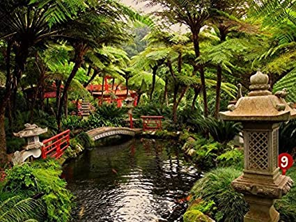 Amazon Com Japanese Garden Oil Painting On Canvas Modern Wall Art