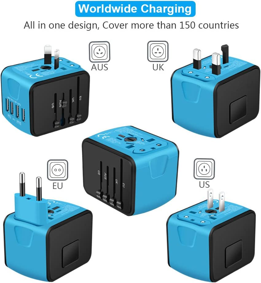 SAUNORCH Universal International Travel Power Adapter W/Smart High Speed 2.4A 4xUSB Wall Charger, European Adapter, Worldwide AC Outlet Plugs Adapters for Europe, UK, US, AU, Asia-Blue: Electronics