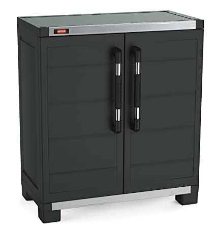 Keter XL Pro Freestanding Durable Resin Plastic Utility Base Cabinet With  Adjustable Shelving, Black